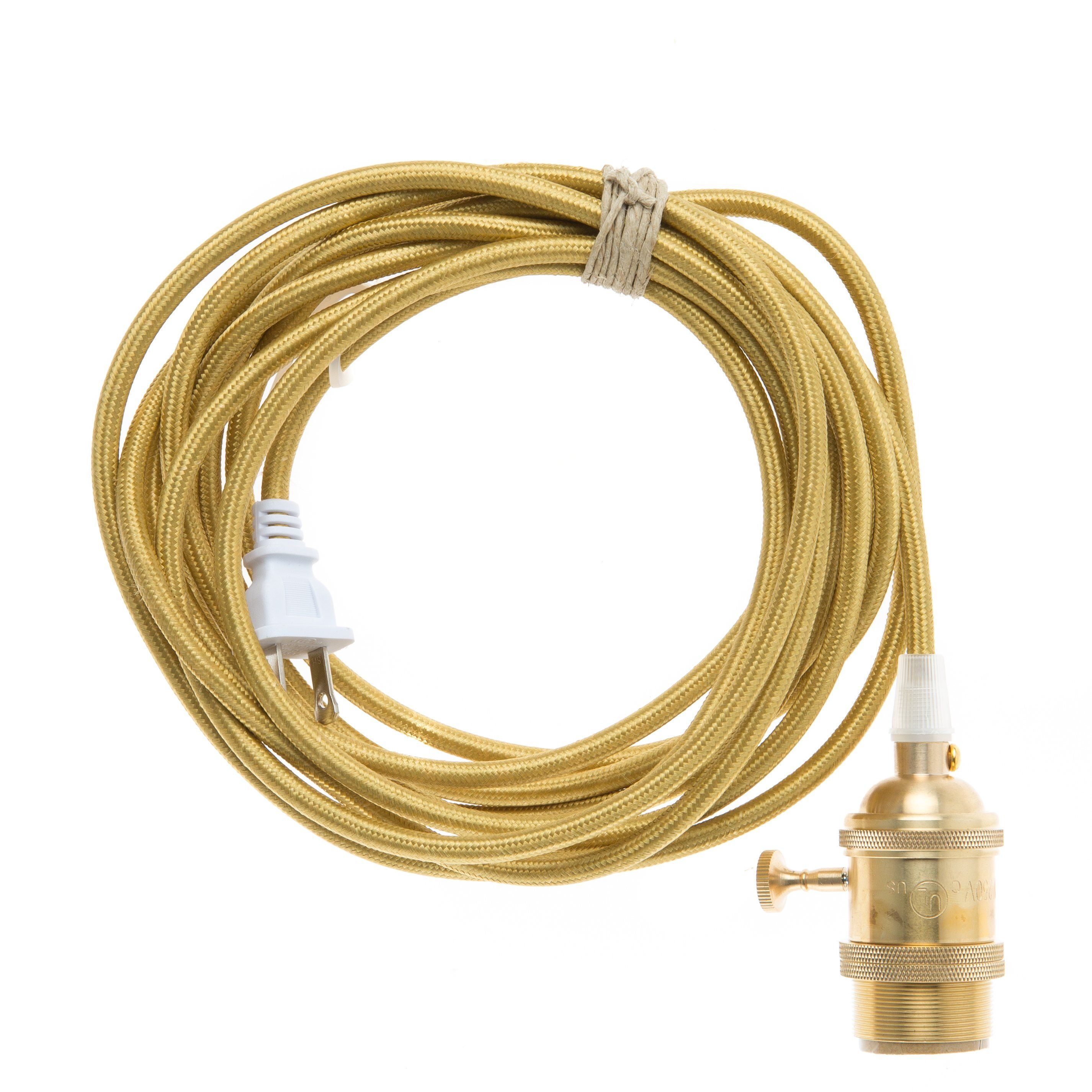 Plug In Pendant Light Cord Set Brass Color Company Wiring A Black To Gold