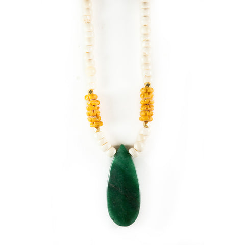 Pendant Necklace - Green and Gold