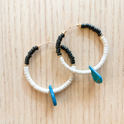 Black and White with Turquoise Hoops