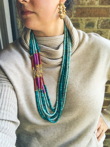 Layers: Dark Turquoise Long Statement Necklaces