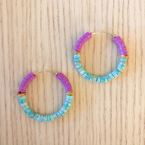 Orchid and Turquoise Hoops