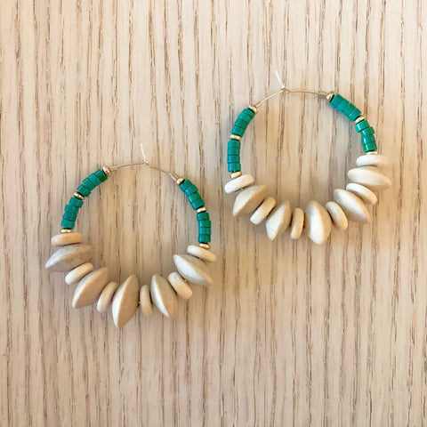 Green and Natural Wood Hoops