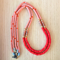 Layers: Sunset Coral Long Statement Necklaces