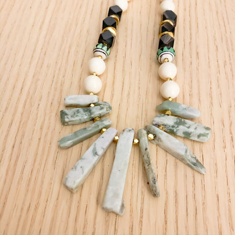 Peruvian and Stone Pendants Necklace