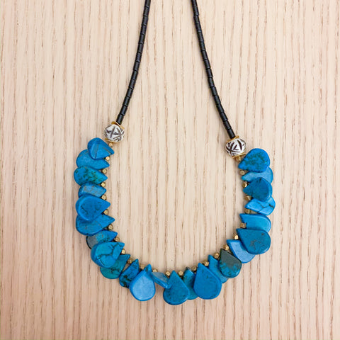 Layers: Turquoise and Black Long Statement Necklace