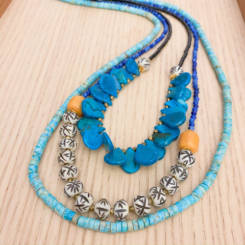 Layers: Blue and Yellow Long Statement Necklace