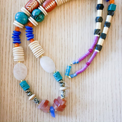 Earthy Colors Long Statement Necklace