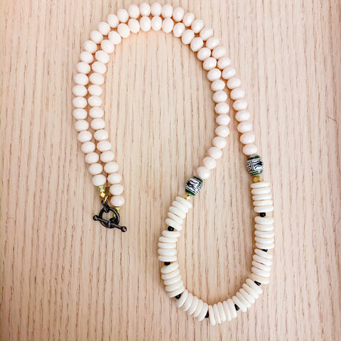 Long Peruvian and Bone Necklace