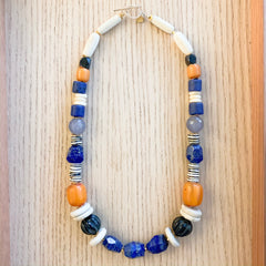 Blue and Amber Statement Necklace