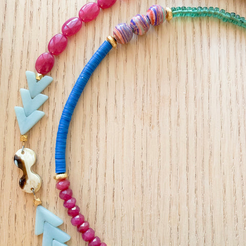Amazonite Arrow Pink and Blue Long Statement Necklace