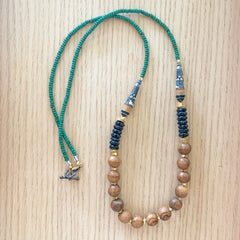 Peruvian Beads and Olive Wood Long Statement Necklace