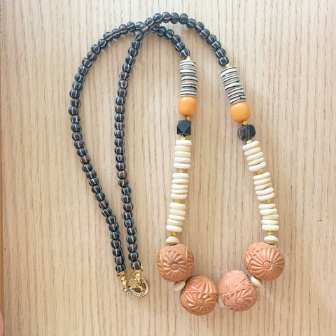 Terra Cotta Long Statement Necklace