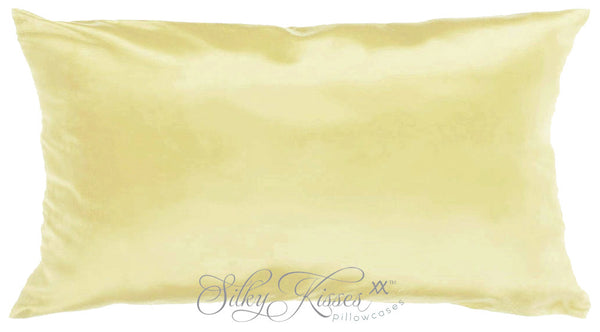 Pale Yellow Silk Pillowcase by Silky Kisses