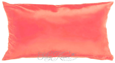 Coral Pink Silk Pillow Case
