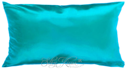 6. Turquoise Silk Pillowcase