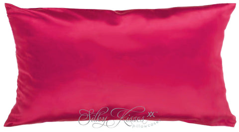 Dark Pink Silk Pillow Case