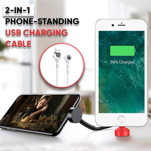 2-In-1 Phone-Standing USB Charging Cable