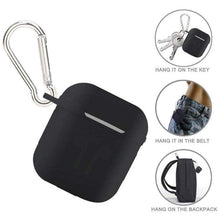 Load image into Gallery viewer, AirPod Silicone-Shockproof Case Cover with Carabiner Hook (Black)