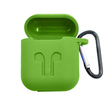 Load image into Gallery viewer, Apple AirPod Silicone-Shockproof Case Cover with Carabiner Hook (Green)