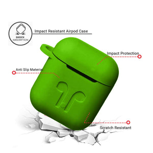 Apple AirPod Silicone-Shockproof Case Cover with Carabiner Hook (Green)