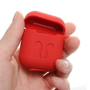 Apple AirPod Silicone-Shockproof Case Cover with Carabiner Hook (Red)