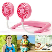 Load image into Gallery viewer, Portable Neck Fan with LED Lights, Rechargeable USB
