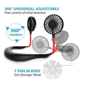 Portable Neck Fan with LED Lights, Rechargeable USB