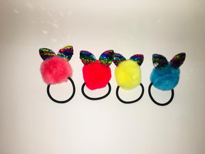 Rabbit Sequence Fur Ponytail Holder Hair Accessories Rubber Band Elastic Hair Band. Pack of 4