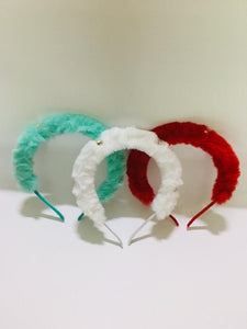 Soft Pearl Emitted Fur Headband /Hairband. Pack of 3