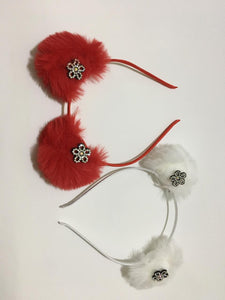 Elegent Pom Pom Feather Hair Band With Stylish Imitated Stone Flower / Girls Party Headbands. Combo pack of 2