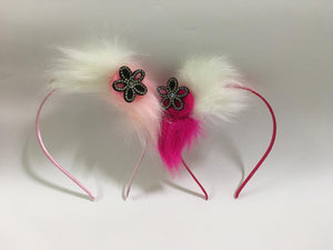 Elegent  Double Coloured Side Fur Hair Band With Stylish Imitated Stone Flower / Girls Party Headbands /Hairband. Pack of 2