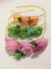 Load image into Gallery viewer, Multicolour Floral Metal Hair Band With Stones,HeadBand For Girls & Women (Pack of 3)