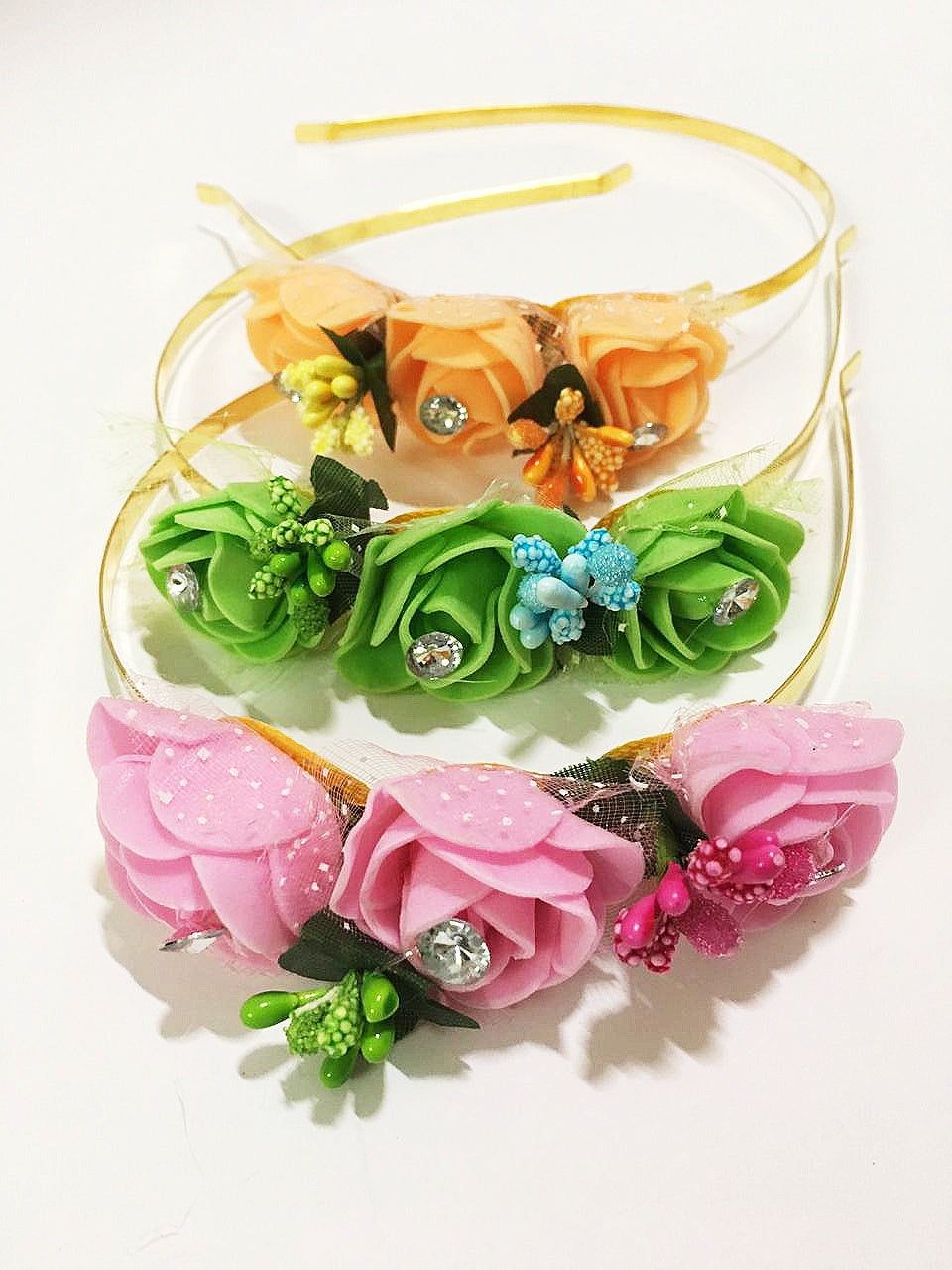 Multicolour Floral Metal Hair Band With Stones,HeadBand For Girls & Women (Pack of 3)