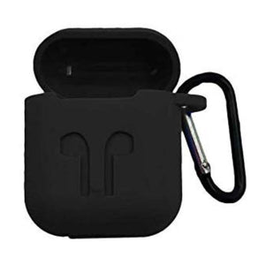 AirPod Silicone-Shockproof Case Cover with Carabiner Hook (Black)