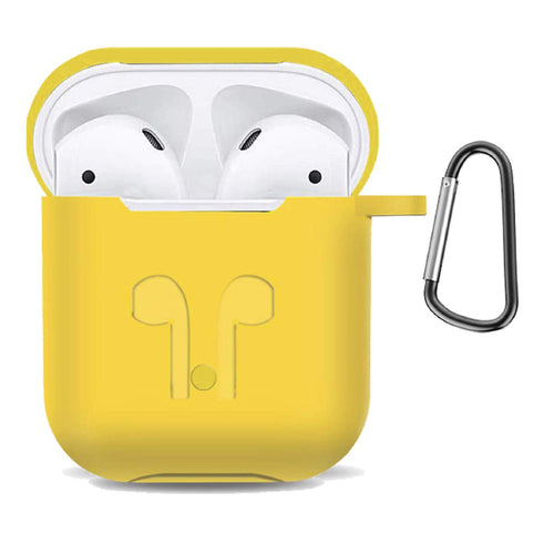 Apple AirPod Silicone-Shockproof Case Cover with Carabiner Hook (Yellow)