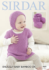 Sirdar Baby Bamboo Knitted Dress Pattern 4669 Birth-3yrs