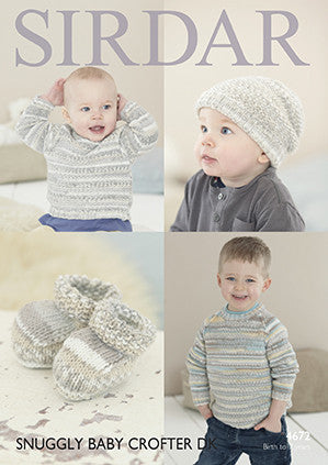 Sirdar Baby Crofter D/K Sweater Pattern 4672 Birth-7yrs
