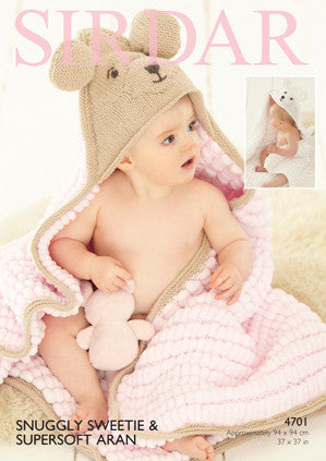 Sirdar Snuggly Sweetie Hooded Blanket Knitting Pattern 4701