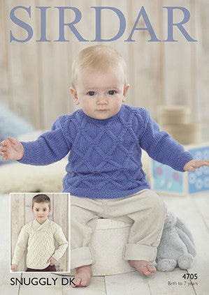Sirdar Snuggly Cable Sweater Knitting Pattern 4705 Birth-7yrs