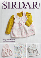 Sirdar Supersoft Aran Rainbow Drops Dress Knitting Pattern 5186