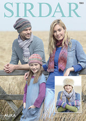 Sirdar Aura Chunky Accessories Knitting Pattern 7883