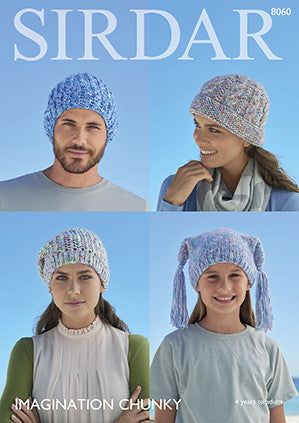 Sirdar Imagination Family Hats Knitting Pattern 8060