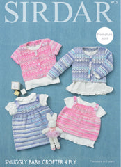 Sirdar Snuggly Baby Crofter 4ply Girls Cardigan, Dress & Angel Top Knitting Pattern 4713