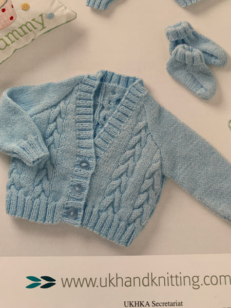 Baby Double Knitting Cable Cardigan Knitting Pattern UKHKA118