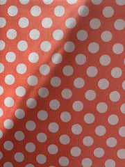 Makower Peach and White Spot 100% Cotton Fabric