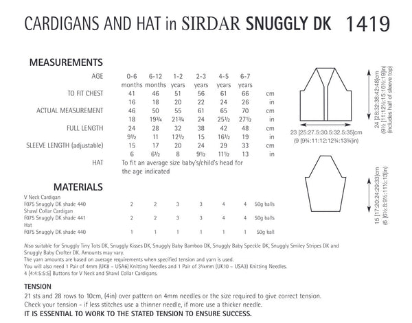 Sirdar Snuggly Double Knit Cardigan & Hat Knitting Pattern 1419