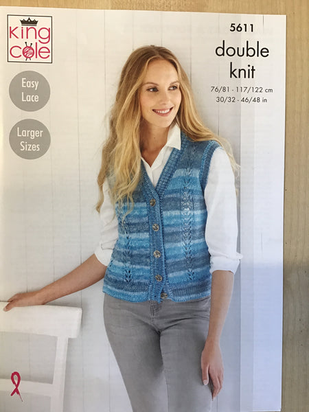 King Cole Island Beaches D/K Ladies Waistcoat Knitting Pattern 5611
