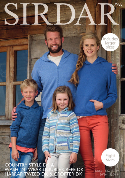 Sirdar Country Style D/K Family Hoodies Pattern 7983