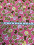 Tea Party Biscuits on Pink 100% Cotton Fabric