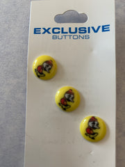 3 x 12mm Lemon Shank Buttons with Ducks Design (043)
